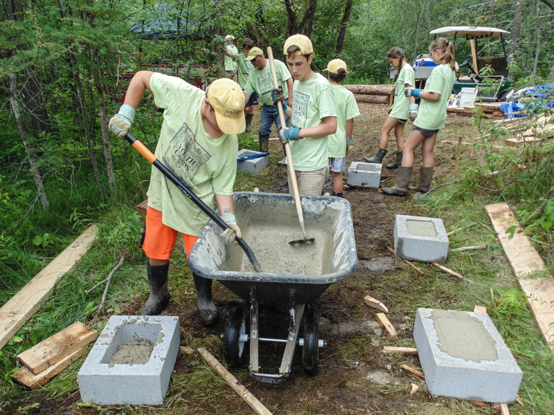 Hildene Youth Corps, constructing bridge footers